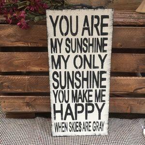 Sunshine handcrafted sign